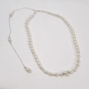 Skyvan Imitation Pearls Tassel Backdrop Necklace